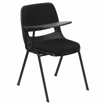 Black Right Side Tablet Arm Chair with Fabric Seat and Back - RUT-EO1-01-PAD-RTAB-GG