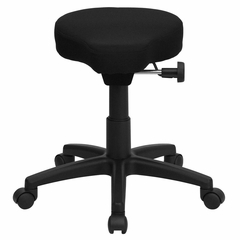 Black Saddle-Seat Utility Stool with Height and Angle Adjustment - WL-1620-GG
