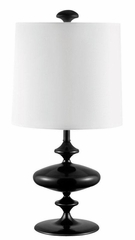 Black Table Lamp with White Drum Shade - 901415