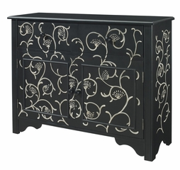 Black with White Hand Paint 2-Drawer, 2-Door Console - Powell Furniture - 440-220