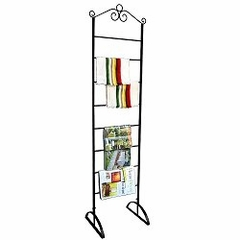 "Blanket/Magazine/Towel Rack 20"" Wide - Black - Pangaea Home and Garden Furniture - FM-0010-20-K"
