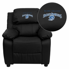 Blinn College Buccaneers Embroidered Black Leather Kids Recliner - BT-7985-KID-BK-LEA-41007-EMB-GG
