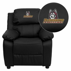 Bloomsburg University Huskies Embroidered Black Leather Kids Recliner - BT-7985-KID-BK-LEA-41008-EMB-GG