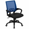 Blue Mesh Office Chair with Black Leather Seat - CP-B176A01-BLUE-GG