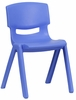 Blue Plastic Stackable School Chair - YU-YCX-004-BLUE-GG