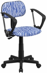 Blue & White Zebra Print Computer Chair - BT-Z-BL-A-GG