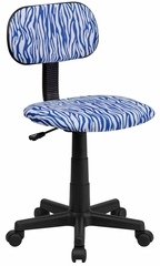 Blue & White Zebra Print Computer Chair - BT-Z-BL-GG
