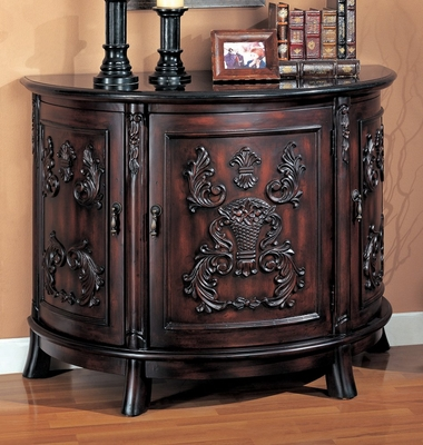 Bombe Chest in Rich Cherry with Black Marble Top - Coaster