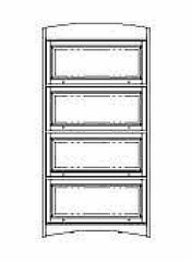 Bookcase DMI - Four Door Barrister Bookcase - Mission Oak Executive Office Furniture / Home Office Furniture - 7661-06