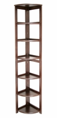 Bookcase - Flip-Flop 6 Shelf Folding Corner Bookcase - HBCFC6712
