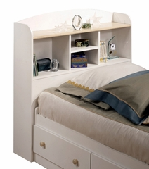 Bookcase Headboard in Pure White/Maple - South Shore Furniture - 3263097