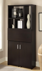 Bookshelf with Pull Out Desk in Cappuccino - 800315