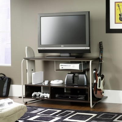 Booster Panel TV Stand Game Station Studio Edge Twine / Cocoa Oak - Sauder Furniture - 411295
