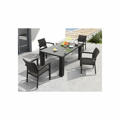 Boracay 5pc Outdoor Table Set in Espresso - Zuo
