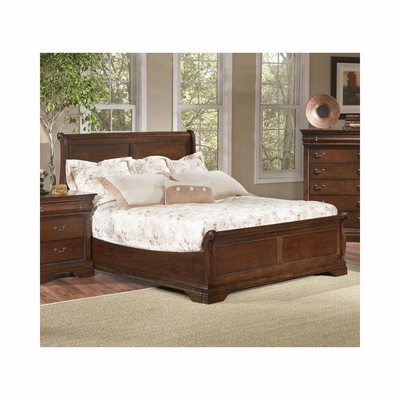 Bordeaux Low Profile Sleigh Bed Brown Cherry - Largo - LARGO-ST-B4300-LOPRO-BED