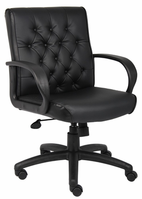 Boss Button Tufted Mid Back Executive Chair In Black - B8506-BK