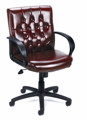 Boss Button Tufted Mid Back Executive Chair In Burgundy - B8507-BY