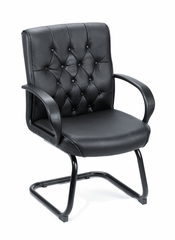 Boss Button Tufted Mid Back Guest Chair In Black - B8509-BK