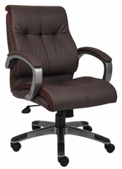 Boss Double Plush Mid Back Executive Chair in Brown - B8776P-BN