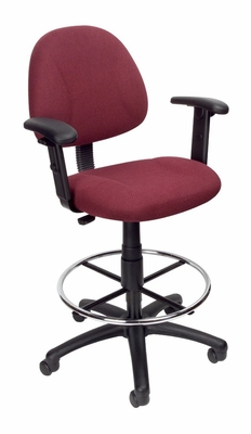 Boss Drafting Stool in Burgundy - B1616-BY