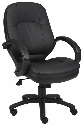 Boss Executive Chair in Leatherplus Black - B726-BK