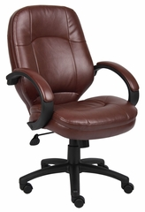 Boss Executive Chair in Leatherplus Black - B726-BN