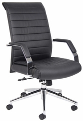 Boss Executive High Back Ribbed Chair in Black - B9441