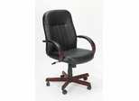 Boss Executive Leather Office Chair with Wood Accents - B8376-M