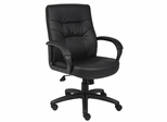 Boss Executive Mid Back Chair in Leatherplus Black - B7507