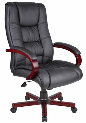 Boss Executive Wood Finished Chair in Mahogany - B8991-M