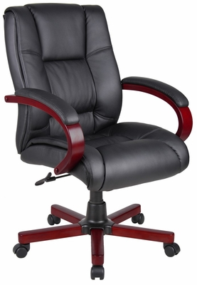Boss Executive Wood Finished Chair in Mahogany - B8996-M
