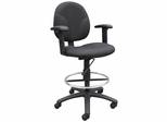 Boss Fabric Drafting Stool in Black - B1691-BK