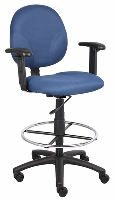Boss Fabric Drafting Stool in Blue - B1691-BE