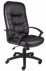 Boss High Back Chair in Leatherplus Black - B7302
