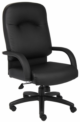 Boss High Back Chair in Leatherplus Black - B7402