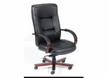 Boss High Back Italian Leather Office Chair with Wood Accents - B8901