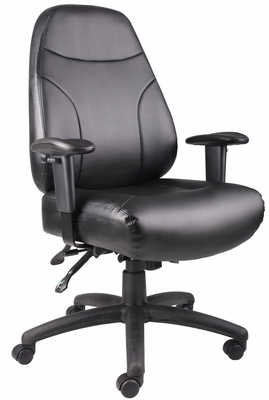 Boss Leather Multi-Functional Chair in Black - B770