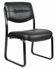Boss Leather Sled Base Side Chair in Black - B9539