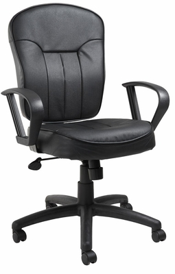 Boss Leather Task Chair in Black - B1562