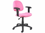 Boss Microfiber Deluxe Posture Chair in Pink - B326-PK