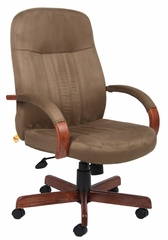 Boss Microfiber Executive Chair with Dark Oak Finish - B8386-DKC