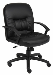 Boss Mid Back Chair in Leatherplus Black - B7307