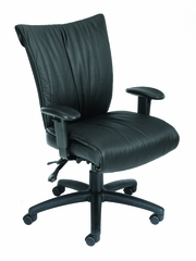 Boss Mid Back Chair in Leatherplus Black - B756-SS
