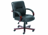 Boss Mid Back Italian Leather Office Chair with Wood Accents - B8906