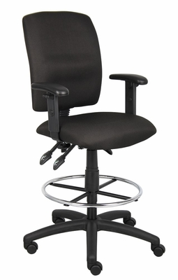Boss Multi-Function Fabric Drafting Stool in Black - B1636-BK