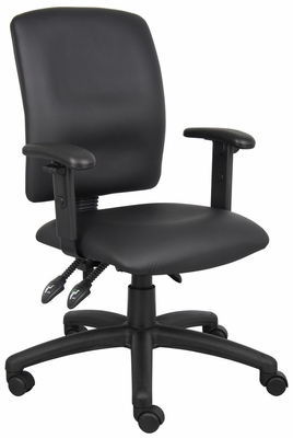 Boss Multi-Function Fabric Leatherplus Task Chair in Black - B3046