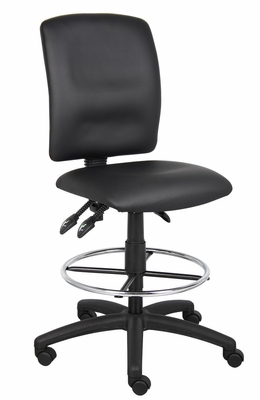Boss Multi-Function Leatherplus Drafting Stool in Black - B1645