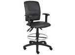 Boss Multi-Function Leatherplus Drafting Stool in Black - B1646