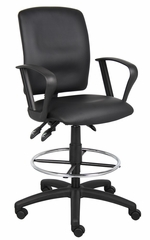 Boss Multi-Function Leatherplus Drafting Stool in Black - B1647