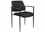 Boss Square Back Diamond Stacking Chair In Black - B9503-BK